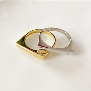Art Deco Flat Top Ring | 14k goud en diamanten