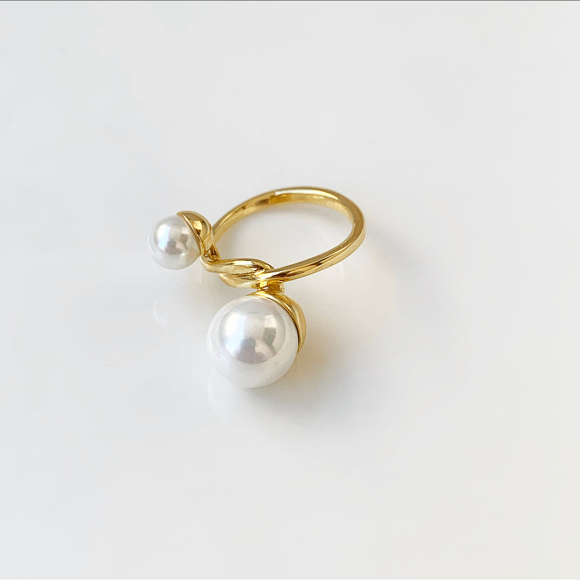 Art Deco Pearls Ring | Gold Vermeil