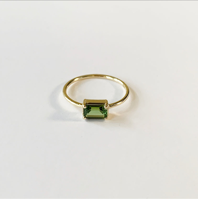 Naz Ring | 14k Gold and Green Tourmaline