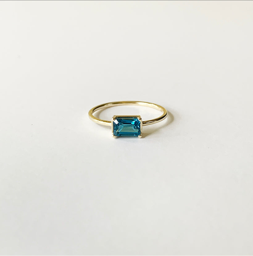 Naz Ring | 14k Gold and London Blue Topaz