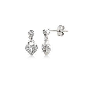 Mini Heart Lock With Glint Earrings