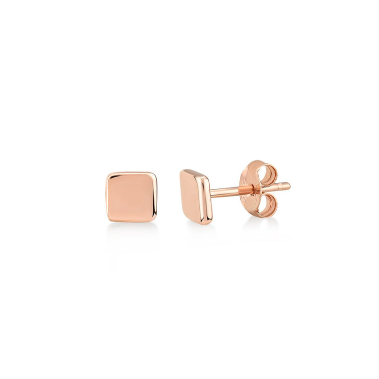 Mini Smooth Square Stud Earrings