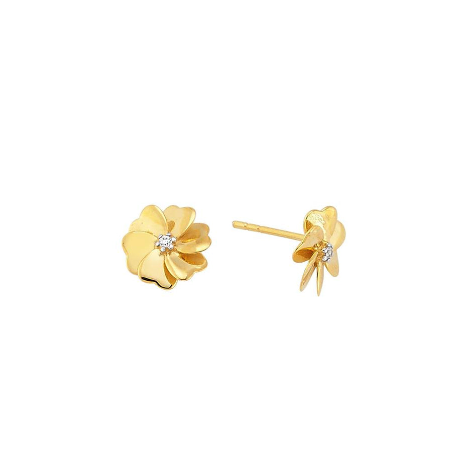 Art Deco Flower Stud Earrings | Gold Vermeil