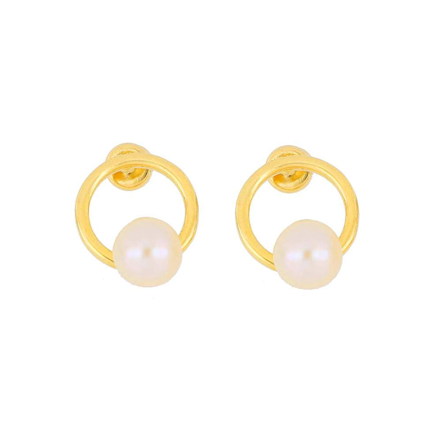 Circle Pearl Stud Earrings | Gold Vermeil