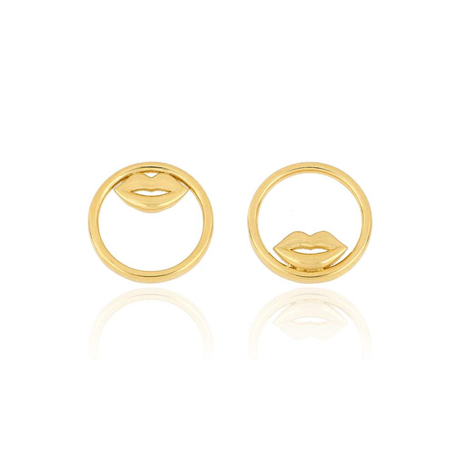 Art Deco Lips Stud Earrings | Gold Vermeil