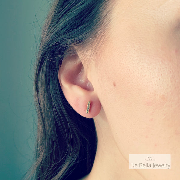 Small Bar Stud Earrings