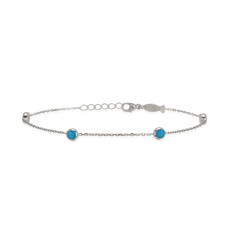 Turquoise Glint Armband (4 x 3 mm Steen)