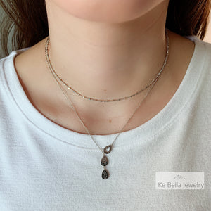 Three Drops Necklace (Smoky CZ & Black Spinel )