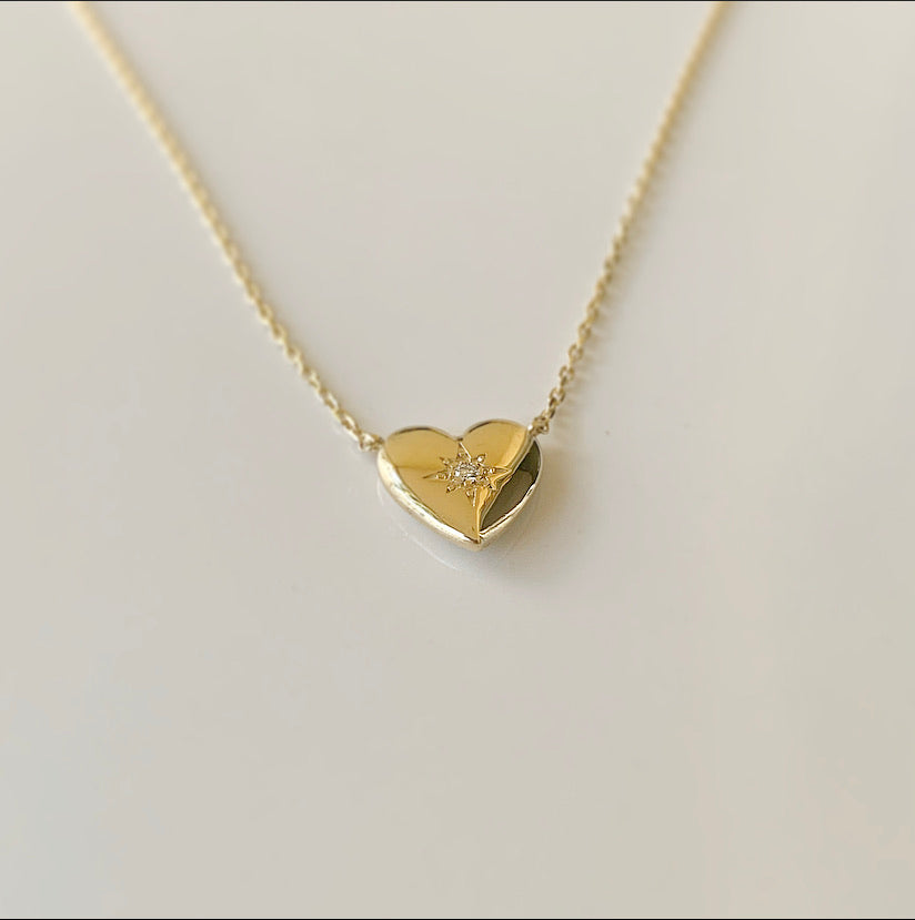 Puffy Heart Halskette | 14 Karat Gold und Diamant