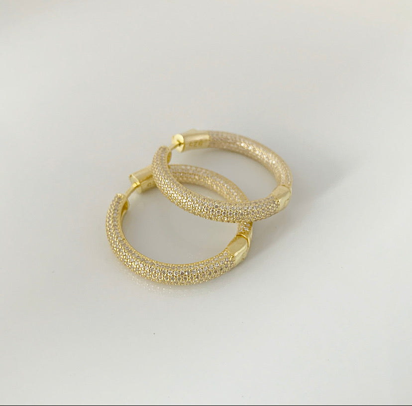 """1.5"""" Thick Pave Hoop Earrings 