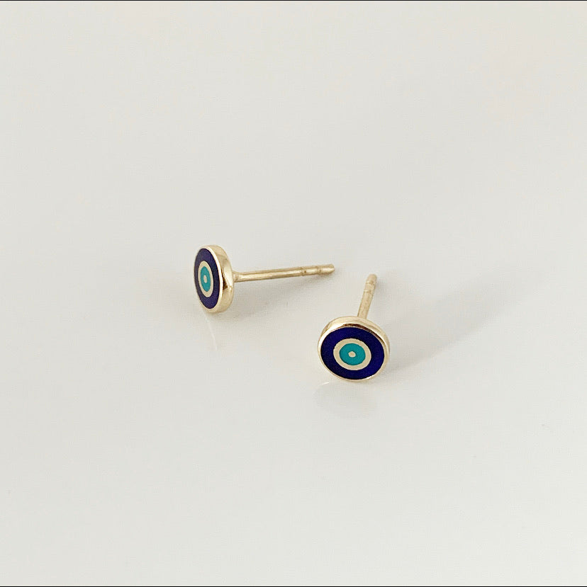 Borchie Delilah Evil Eye - Navy | Oro 14k e smalto