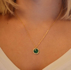 Green Onyx Necklace | Gold Vermeil