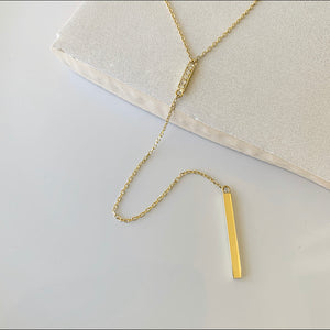 Lariat Bar Necklace with Drop | 14k Gold and Diamond