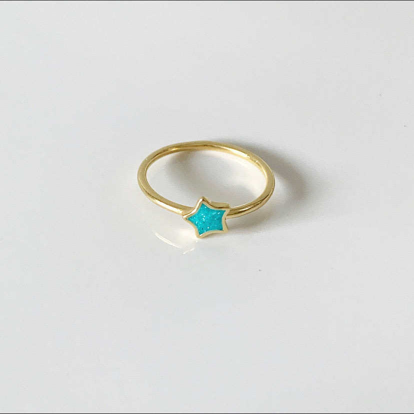 Turquoise Star Ring | 14k Gold and Enamel