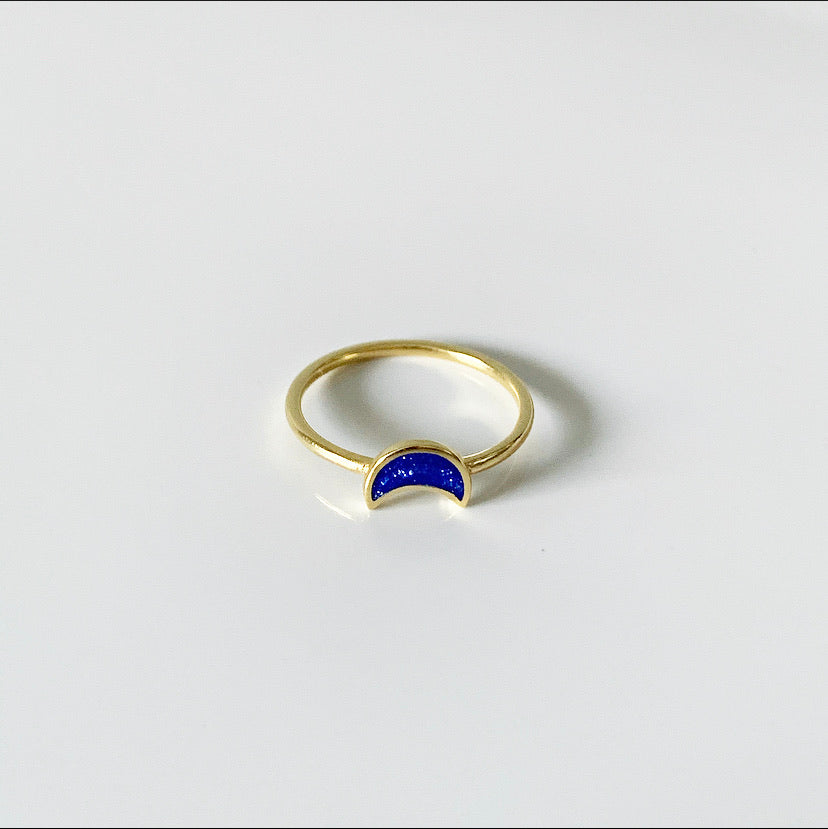Night Sky Moon Ring | 14k Gold and Enamel