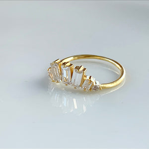 Art Deco Cluster Baguette Ring | Gold Vermeil