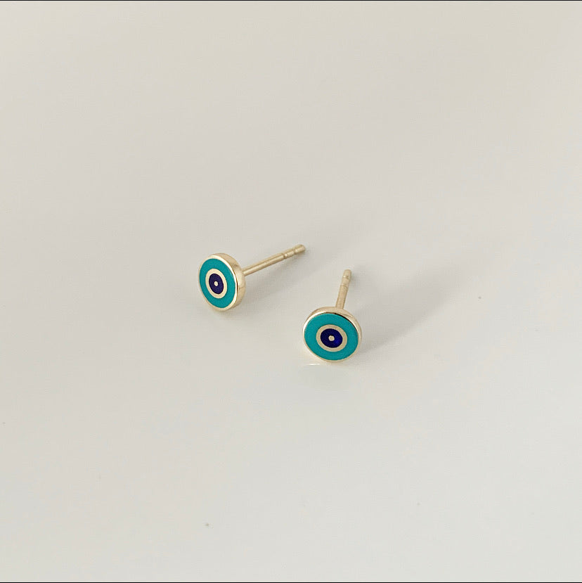 Delilah Evil Eye Studs - Turquoise | 14k Gold and Enamel