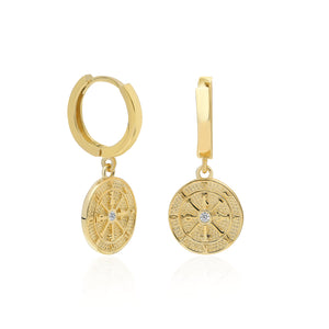 Compass Coin Hoop Earrings | Sterling Silver
