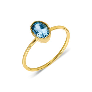 Sema Ring | 14k Gold and Sky Blue Topaz