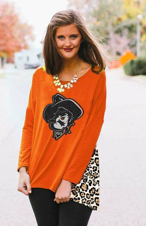 OSU Orange top, Leopard Print Back