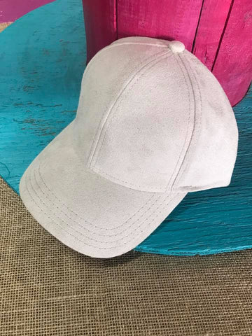 Cream Suede Ball Cap