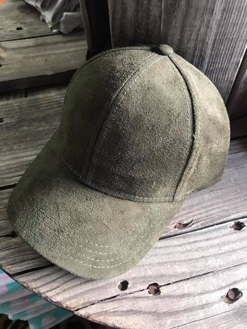 Olive Green Suede Ball Cap