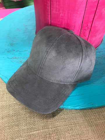 Grey Suede Ball Cap