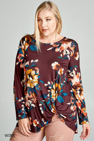 Floral Print Jersey Top with Side Knot