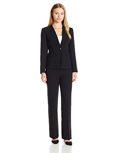 Tahari by Arthur S. Levine Women's Crepe Pant Suit with Novelty Gold Closure, Black, 8 Petite
