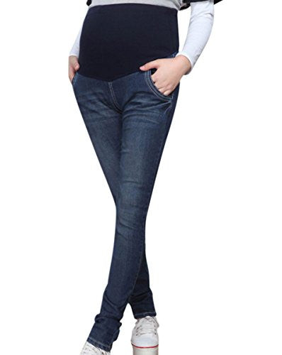 Aivtalk Spring Autumn Women's Denim Stretch Skinny Adjustable High Waist Pregnant Maternity Belly Pants Plus Size available Blue 5XL