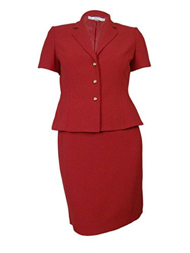 Tahari Women's Ben Berkshire Beauty Crepe Skirt Suit (6P, Red)