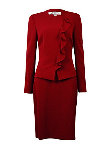 Tahari Women's NYC Glamour Ruffled Skirt Suit (14P, Merlot Red)