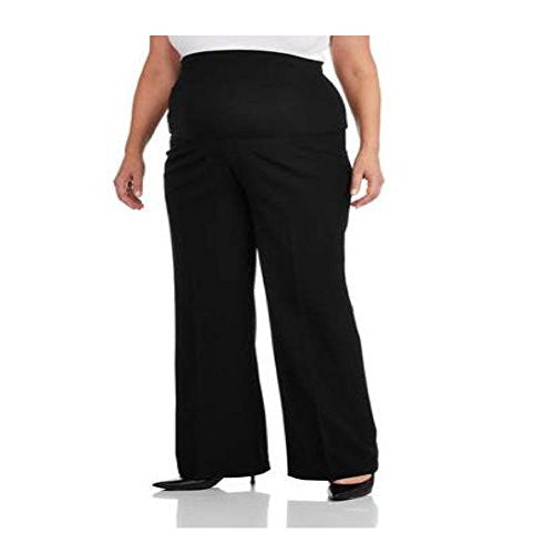 Plus Size Dress Maternity Pants, Wide Leg, Palazzo Style by Oh! Mamma (3X, Black)