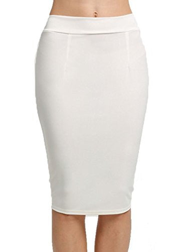 OURS Women's Elastic High Waist Back Zipper Stretch Bodycon Pencil Skirt (L, White)