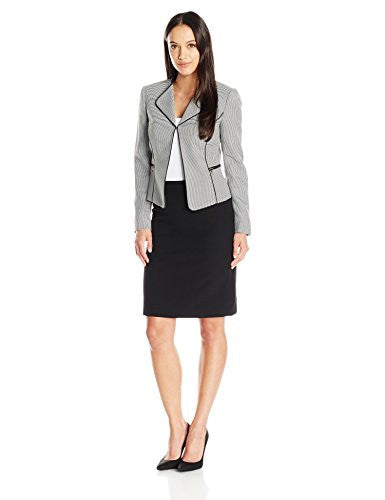 Tahari by Arthur S. Levine Women's Petite Houndstooth Skirt Suit, Black/White, 4P