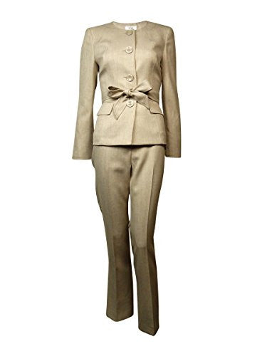 Le Suit Women's Belted Scoop Neck Four Button Woven Pant Suit (10P, Light Khaki)