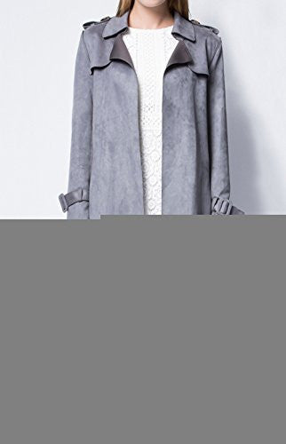 YH Women's Plus Size Patchwork Long Pattern Faux Suede Trench Coat Grey 2XL