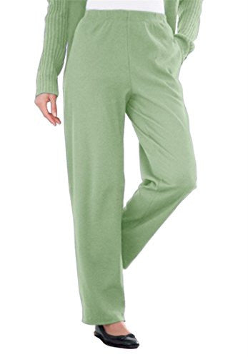 Plus Size Tall Ribbed Knit Pants (Sage,M)