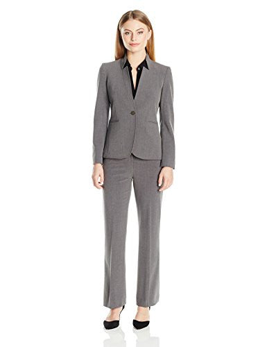 Tahari by Arthur S. Levine Women's Petite Bi Stretch Star Neck One Button Pant Suit, Grey, 16P