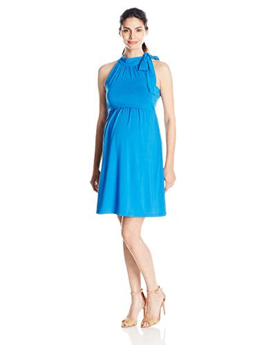 Dote Women's Maternity Cheryl Nursing and Halter Empire Dress, Royal Blue, X-Large