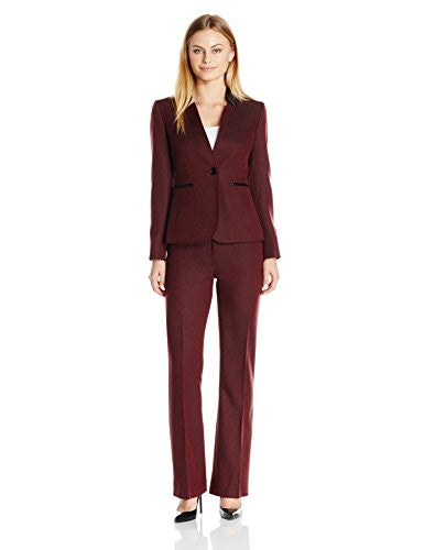 Tahari by Arthur S. Levine Women's Petite Herringbone Pant Suit with Leather Detail, Wine/Black, 12P