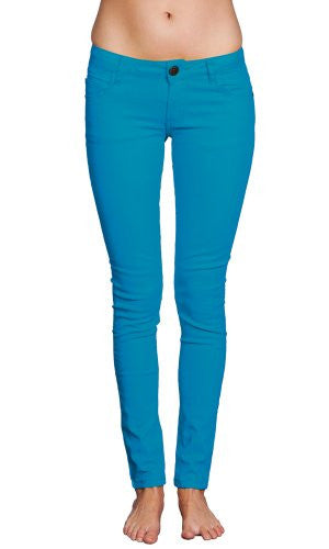 Women's Skinny Tapered Cut Plus-Sized Stretch Jeans by Gazoz Turquoise 24