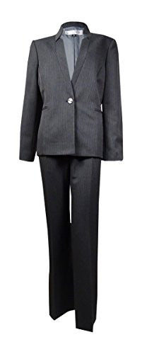 Tahari ASL Inverted Lapel Pinstripe Pant Suit, 2-P, Grey/White