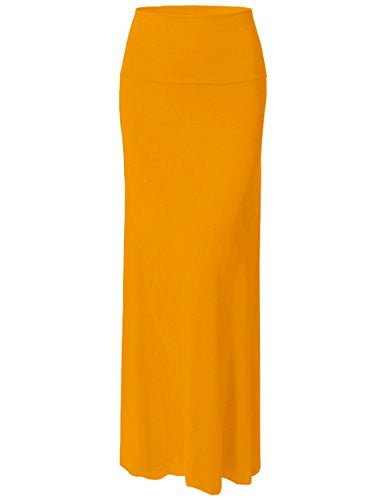 ViiViiKay Women's Summer Casual Floor Length Fold Over Long Maxi Maternity Skirt 9001RS-ORANGE S