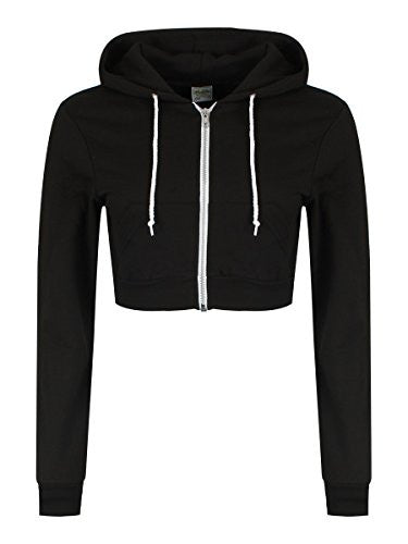 Women's Girlie Cropped Zoodie Hoodie Black