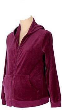 Lilo Maternity Velour Zip-up Sweatshirt (X-Small, Maroon)
