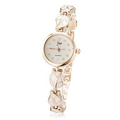 Yodee Women's Little Round Dial Leaf Pattern Alloy Band Quartz Analog Bracelet Watch (Assorted Colors) 30% Off