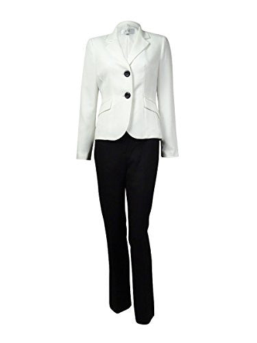 Le Suit Women's Petite 2 Button Jacket and Pant with Scarf, Vanilla Ice/Black, 4 Petite
