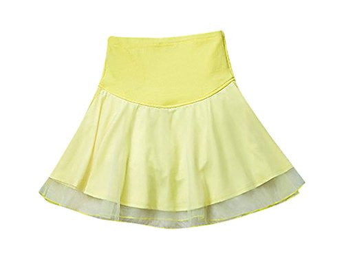 MTRNTY Women's Maternity Elastic Waist Black / Yellow Lace Short Fashion Skirt, Gold Medium