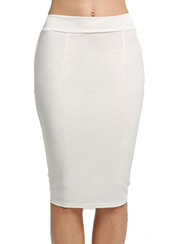 OURS Women's Elastic High Waist Back Zipper Stretch Bodycon Pencil Skirt (S, White)